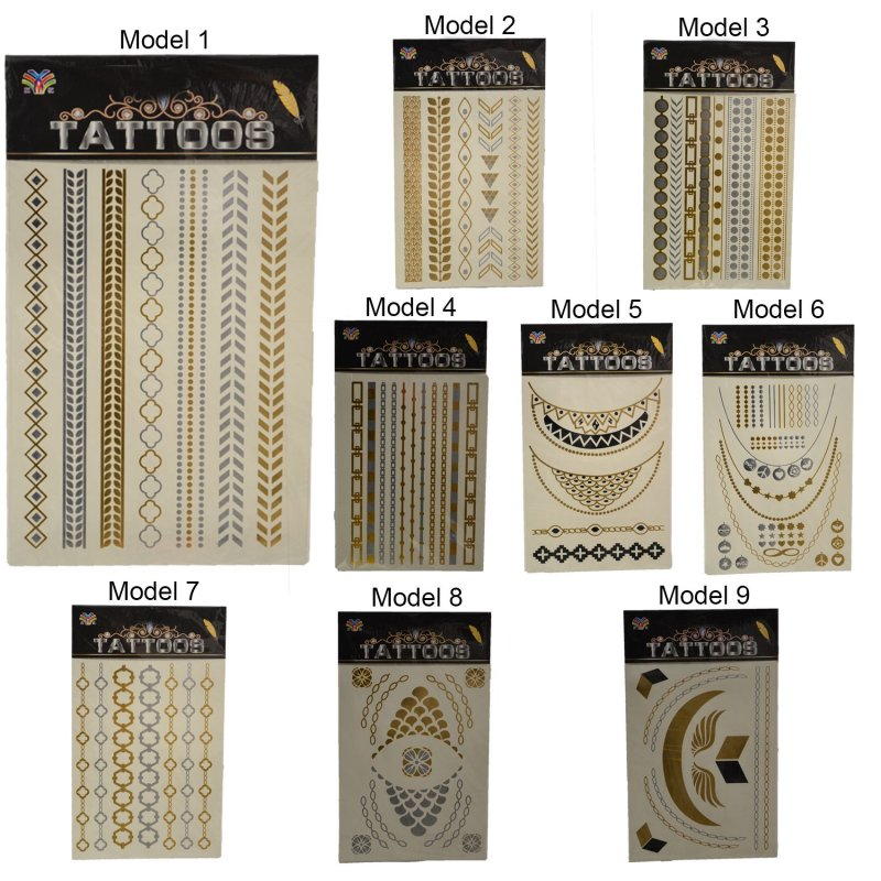 flash einmal temporary klebe tattoo gold silber henna armband body kette 9 mod ebay. Black Bedroom Furniture Sets. Home Design Ideas