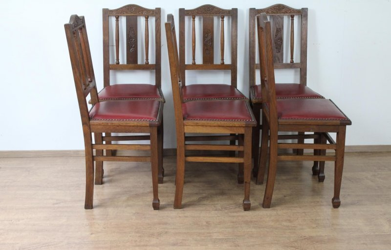 6 st hle art deco um 1920 frankreich leder ebay. Black Bedroom Furniture Sets. Home Design Ideas