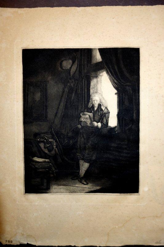 radierung rembrandt reichsdruckerei der b rgermeister six am fenster ebay. Black Bedroom Furniture Sets. Home Design Ideas