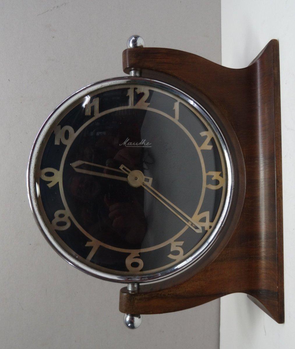 antique wall clock mechanische wanduhr mauthe ausleger uhr art deco 20er ebay. Black Bedroom Furniture Sets. Home Design Ideas