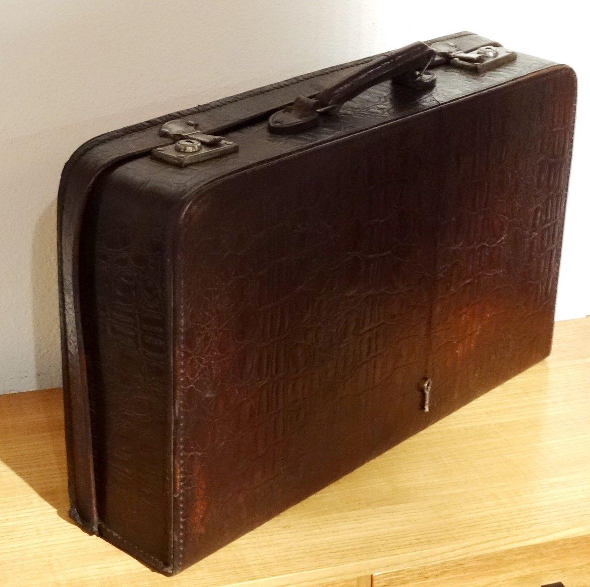 antiker kinder lederkoffer oldtimer koffer krokooptik. Black Bedroom Furniture Sets. Home Design Ideas