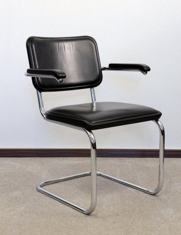 thonet s64 leder freischwinger bauhaus klassiker st hle schwarz breuer. Black Bedroom Furniture Sets. Home Design Ideas