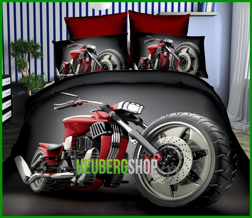 3 tlg 3d effekt bettw sche bettbezug bettgarnitur 155x200cm harley davidson ebay. Black Bedroom Furniture Sets. Home Design Ideas