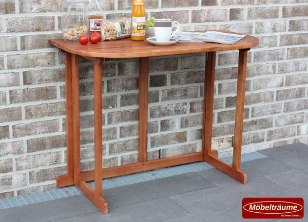 balkontisch klappbar aus holz 100x50 cm halbrund holztisch tisch klapptisch fsc ebay. Black Bedroom Furniture Sets. Home Design Ideas