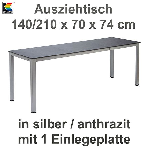 kettler ausziehtisch 140 210 x 70 cm balkontisch gartentisch in silber anthrazit ebay. Black Bedroom Furniture Sets. Home Design Ideas