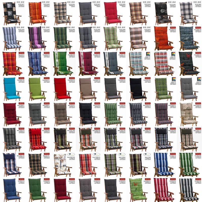 60 Farben zur Wahl Hochlehner Sessel Auflagen Polster