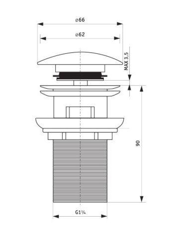 ablaufventil f r waschbecken ohne oder mit berlauf click clack ebay. Black Bedroom Furniture Sets. Home Design Ideas