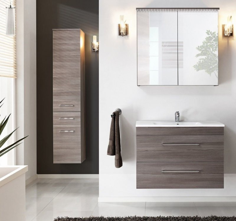 badm bel set cosmo 80 cm badezimmer mit waschbecken 80 cm 4 elemente ebay. Black Bedroom Furniture Sets. Home Design Ideas