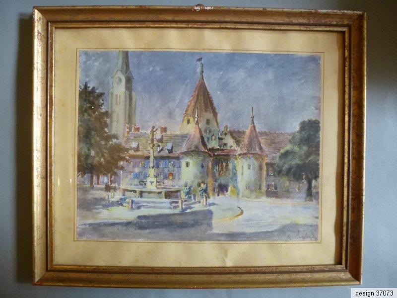 aquarell kloster kirche landkreis neu ulm signiert um 1947. Black Bedroom Furniture Sets. Home Design Ideas
