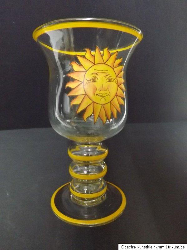 Glaspokal glas bemalung sonne windlicht deko sommer for Glaspokal deko