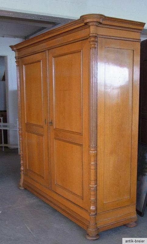 sehr gro er sch ner kleiderschrank helle eiche auf linde furniert ca um 1880 top ebay. Black Bedroom Furniture Sets. Home Design Ideas