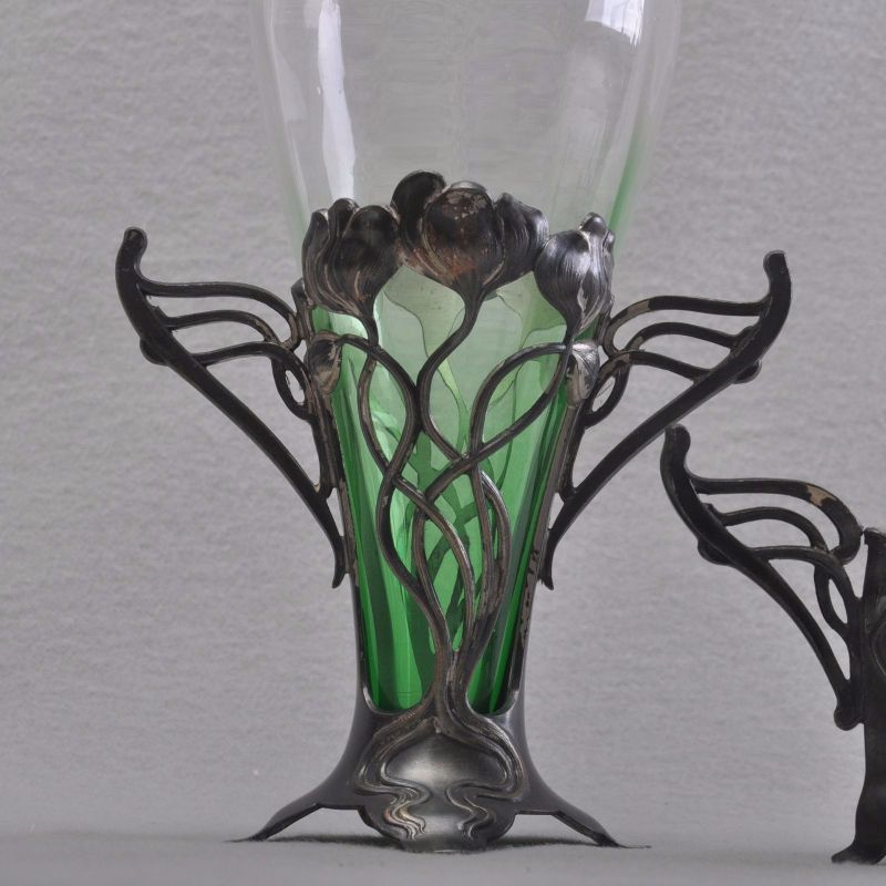 wmf art nouveau flower set jardiniere and 2 vases original glas 1906 rare ebay. Black Bedroom Furniture Sets. Home Design Ideas
