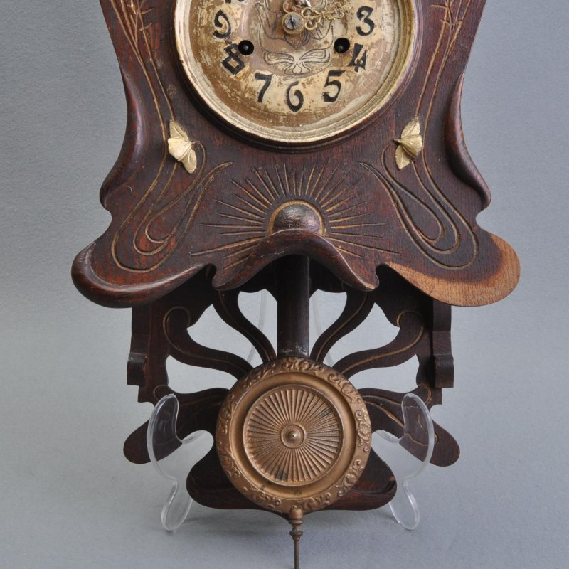 tr s d coratif art nouveau bois horloge murale cantilever floral belle patine ebay. Black Bedroom Furniture Sets. Home Design Ideas