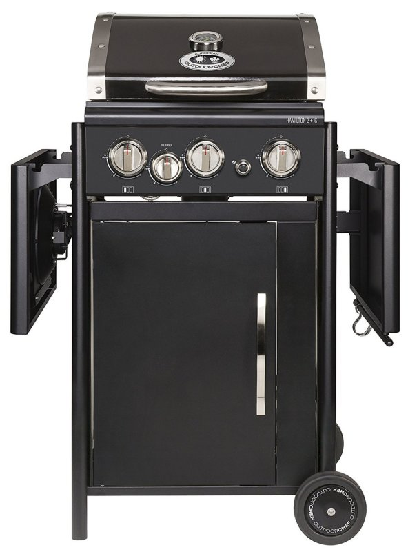 outdoorchef hamilton 3g schwarz bbq gasgrill grillstation 3 brenner seite m51 ebay. Black Bedroom Furniture Sets. Home Design Ideas