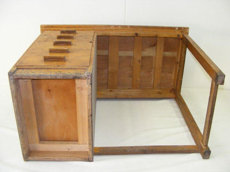 sch ner alter schreibtisch mit schiebern holz arbeitstisch art deco tisch. Black Bedroom Furniture Sets. Home Design Ideas