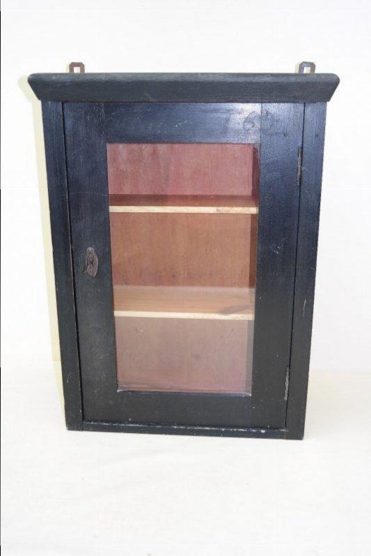 verre ancien armoire garde manger armoire en bois murale noir rustique ebay. Black Bedroom Furniture Sets. Home Design Ideas