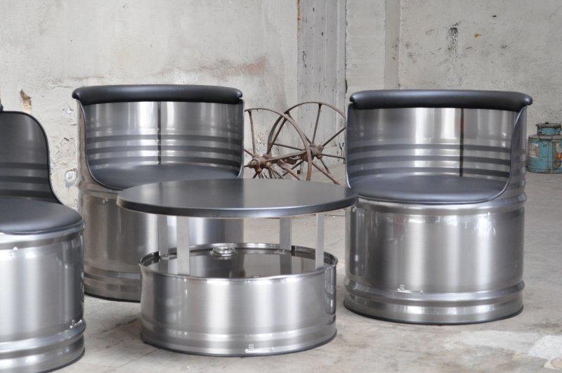 fass sitzgruppe aus 200 l neu metall f sser berfl che. Black Bedroom Furniture Sets. Home Design Ideas