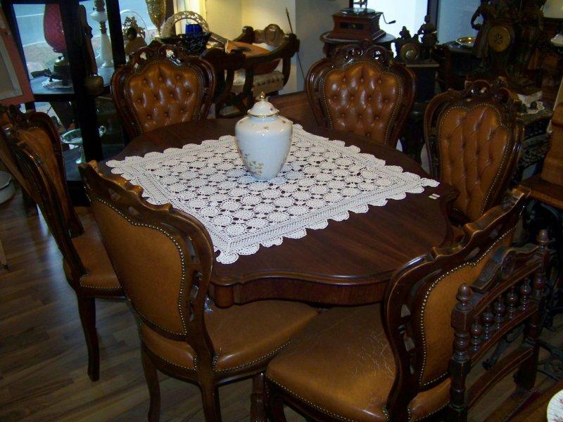 antike essgruppe massiveiche esstisch mit 6 leder st hle ausziehbar bis 3 5m ebay. Black Bedroom Furniture Sets. Home Design Ideas