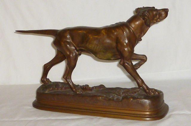alte bronzefigur jules moigniez bronze figur pointer hund bronce jagdhund dog ebay. Black Bedroom Furniture Sets. Home Design Ideas