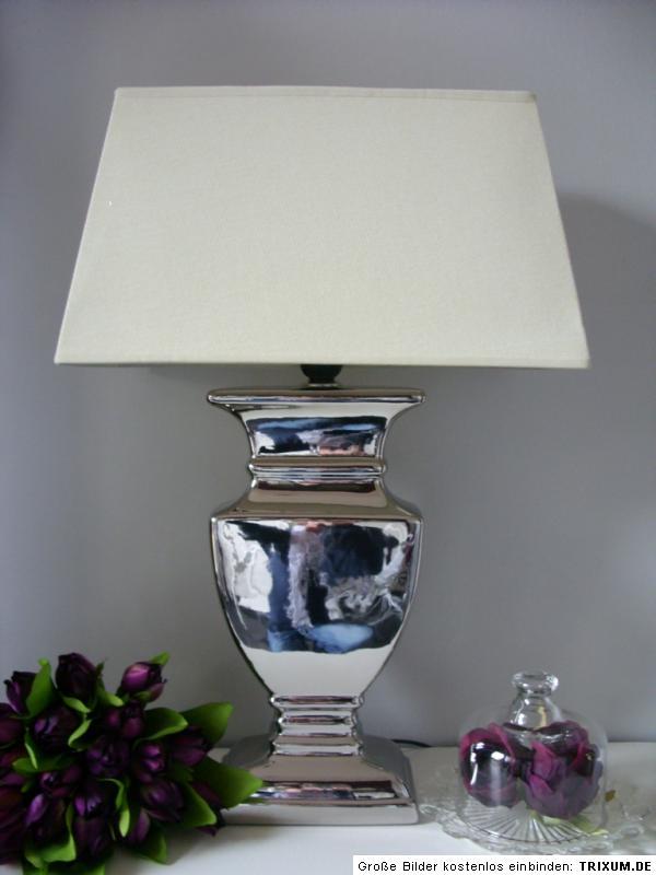 gro e tischleuchte tisch lampe leuchte 52 cm silber creme shabby landhaus ebay. Black Bedroom Furniture Sets. Home Design Ideas