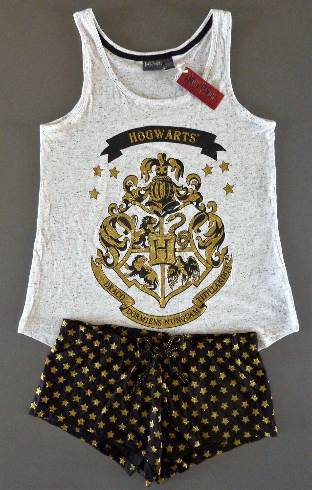 neu primark harry potter pyjama l 44 46 hogwarts shorty schlafanzug hausanzug. Black Bedroom Furniture Sets. Home Design Ideas