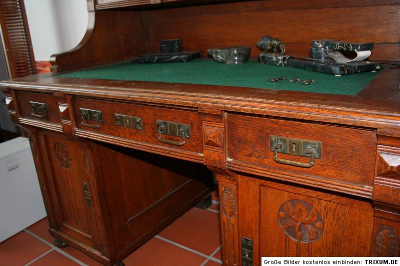 Gr nderzeit jugendstil schreibtisch eiche massiv vor 1900 unrestauriert ebay - Schreibtisch vor fenster ...
