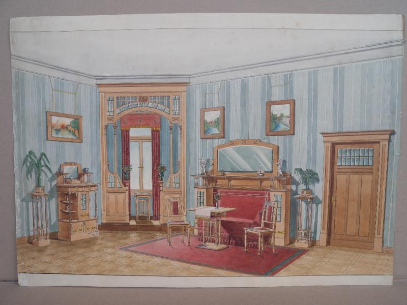 Ausgefallene Zeichnung Jugendstil Esszimmer Wohnzimmer Mit Details