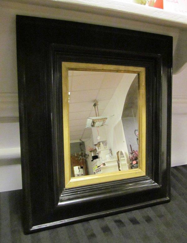 bezaubernd sch ner spiegel um 1870 in schwarzem schellack handpoliert ebay. Black Bedroom Furniture Sets. Home Design Ideas