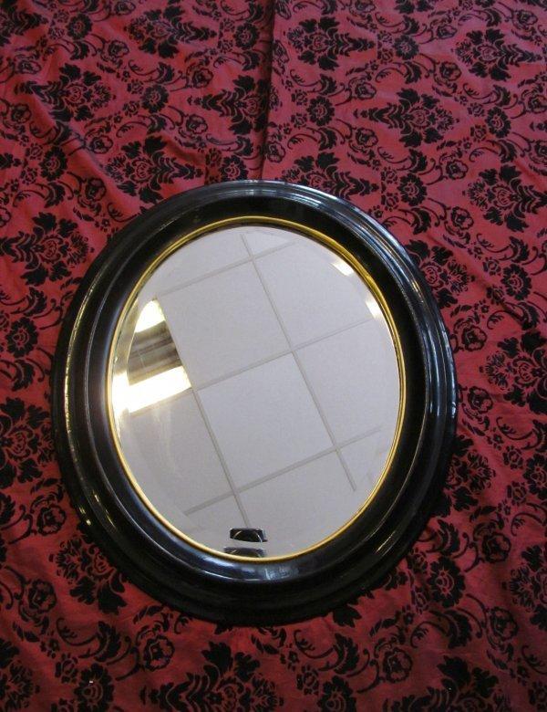 stilvoller ovaler spiegel mit goldrand um 1870 ebay. Black Bedroom Furniture Sets. Home Design Ideas