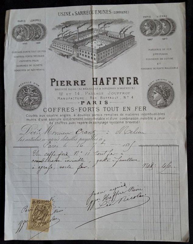 1889 rechnung quittung pierre haffner franz sisch paris. Black Bedroom Furniture Sets. Home Design Ideas