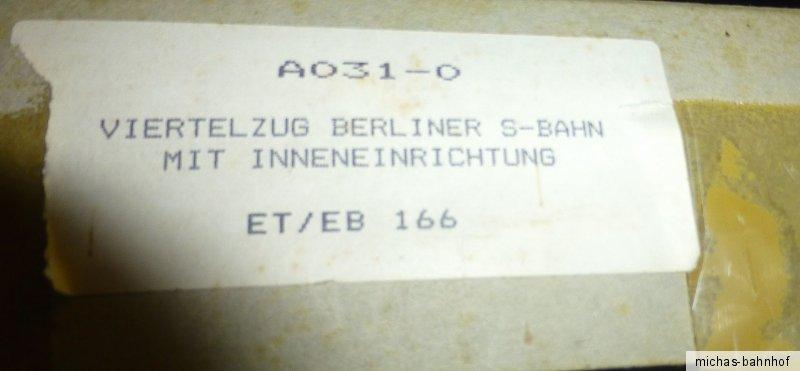 ETEB 166 Quart tournant Berliner Train de banlieue Kit de