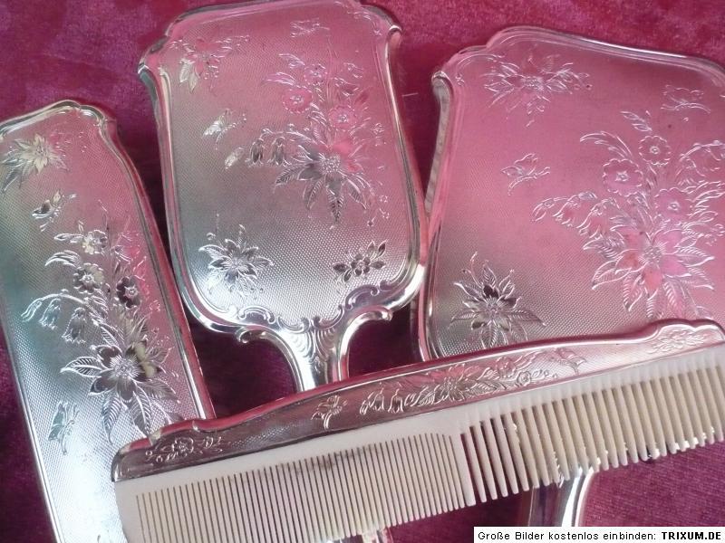 edles altes kosmetik set spiegel 2 b rsten kamm alpaka. Black Bedroom Furniture Sets. Home Design Ideas