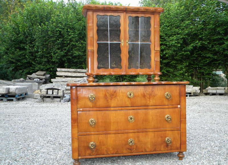 1850 sp te biedermeier aufsatz kommode kirsche originalbeschl ge unrestauriert ebay. Black Bedroom Furniture Sets. Home Design Ideas