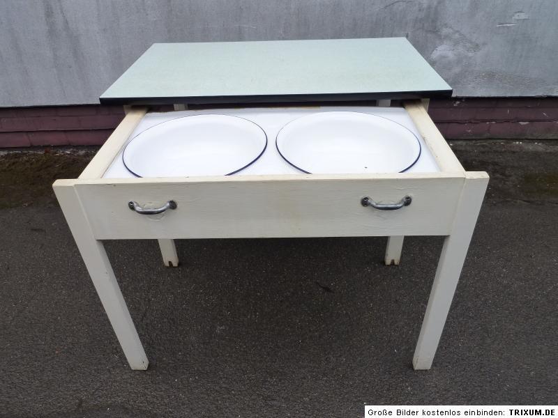 alter aufwaschtisch k chentisch waschtisch tisch mit sch sseln frankfurter k che ebay. Black Bedroom Furniture Sets. Home Design Ideas