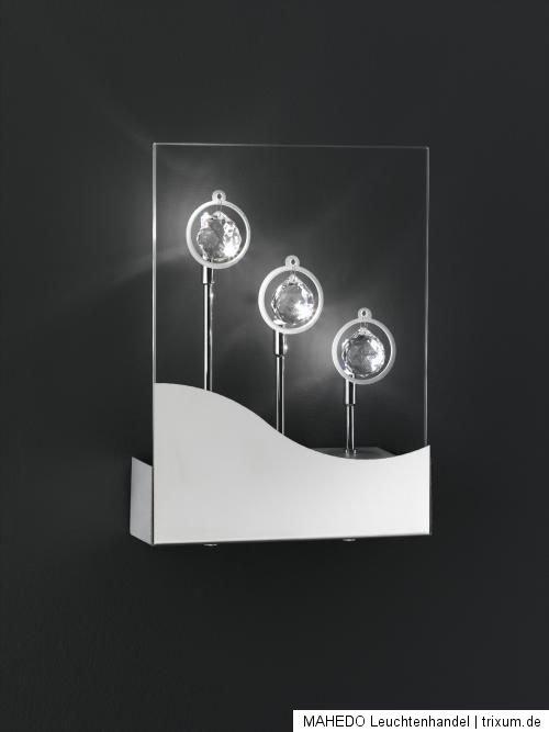 design designer wandlampe wandleuchte glas kristall chrom wofi jade 3x halogen ebay. Black Bedroom Furniture Sets. Home Design Ideas