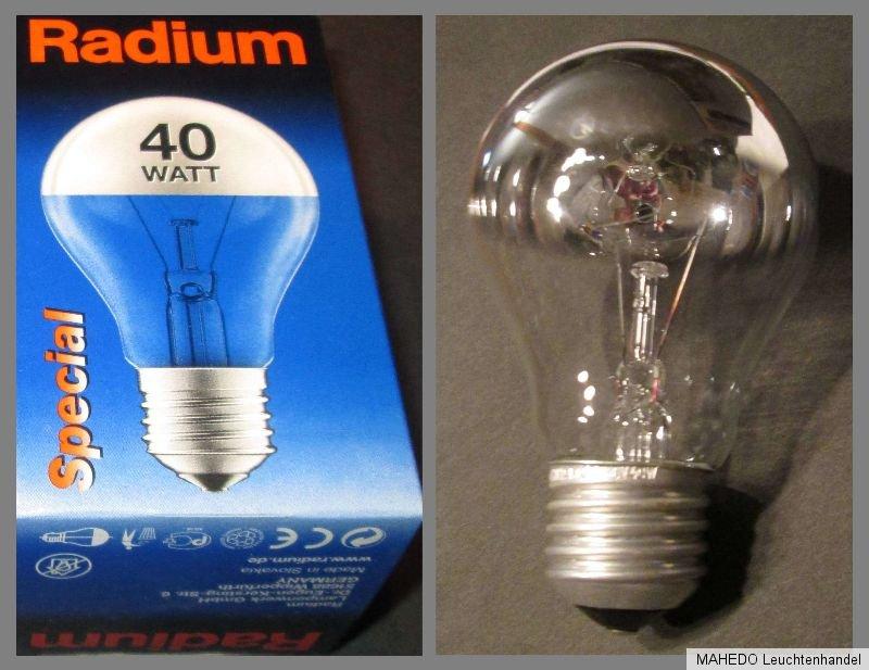 radium gl hlampe gl hbirne verspiegelt spiegel spiegellampe chrom 40w 230v e27 ebay. Black Bedroom Furniture Sets. Home Design Ideas