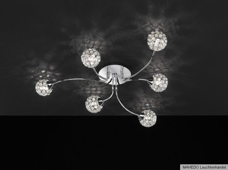 deckenleuchte deckenlampe action wofi genua 6x g9 kugeln modern retro chrom glas ebay. Black Bedroom Furniture Sets. Home Design Ideas