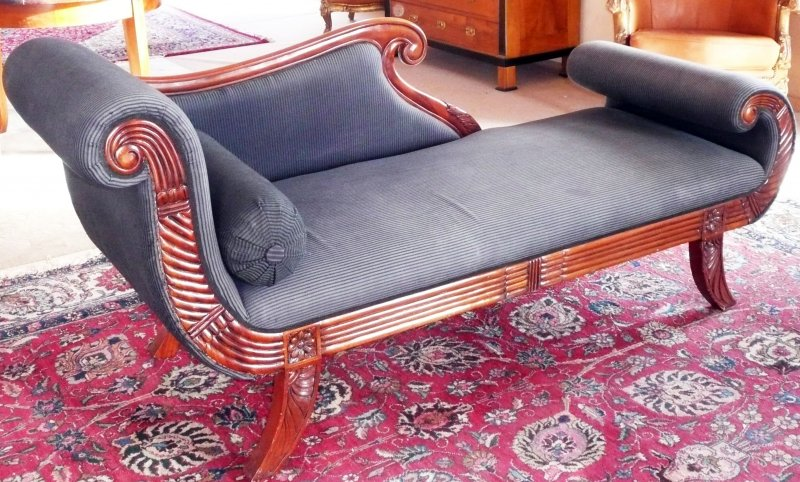 chaiselongue recamiere canape sofa couch sitz liege m bel barock empire biederm ebay. Black Bedroom Furniture Sets. Home Design Ideas