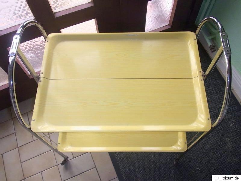 dinett servierwagen teewagen klappbar 70 ziger gelb chrom n he hamburg ebay. Black Bedroom Furniture Sets. Home Design Ideas