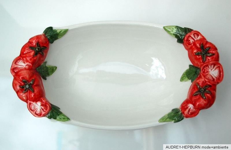 mediterranes geschirr sch ssel oval 31 cm tomate relief bassano keramik ebay. Black Bedroom Furniture Sets. Home Design Ideas