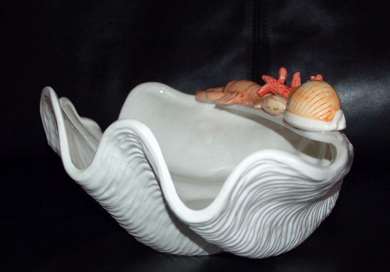 bassano keramik grosse deko schale muschel hummer muschel koralle deko ebay. Black Bedroom Furniture Sets. Home Design Ideas