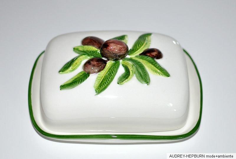 mediterranes geschirr butterdose oliven relief. Black Bedroom Furniture Sets. Home Design Ideas