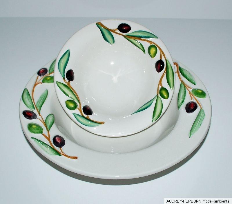 mediterranes geschirr pastateller 25 5 cm oliven relief bassano keramik ebay. Black Bedroom Furniture Sets. Home Design Ideas