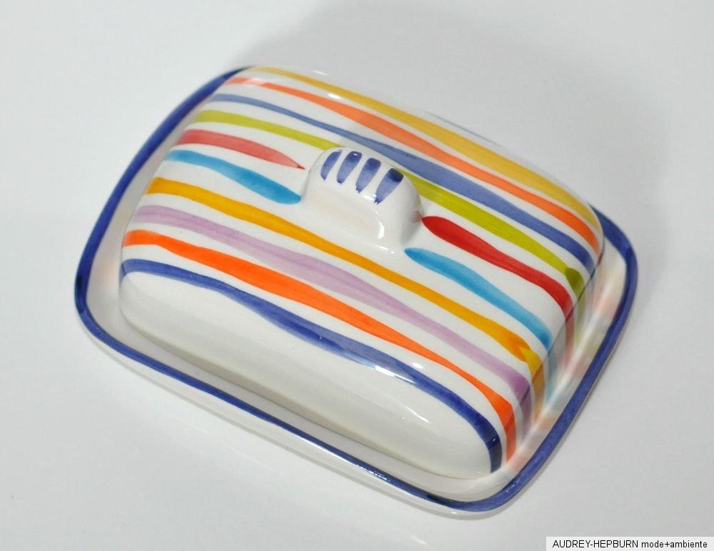 bassano keramik grosse butterdose bunte linien blau. Black Bedroom Furniture Sets. Home Design Ideas