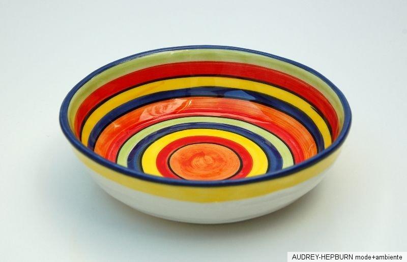 mediterranes geschirr kleine flache schale 16 cm bunt bassano keramik ebay. Black Bedroom Furniture Sets. Home Design Ideas