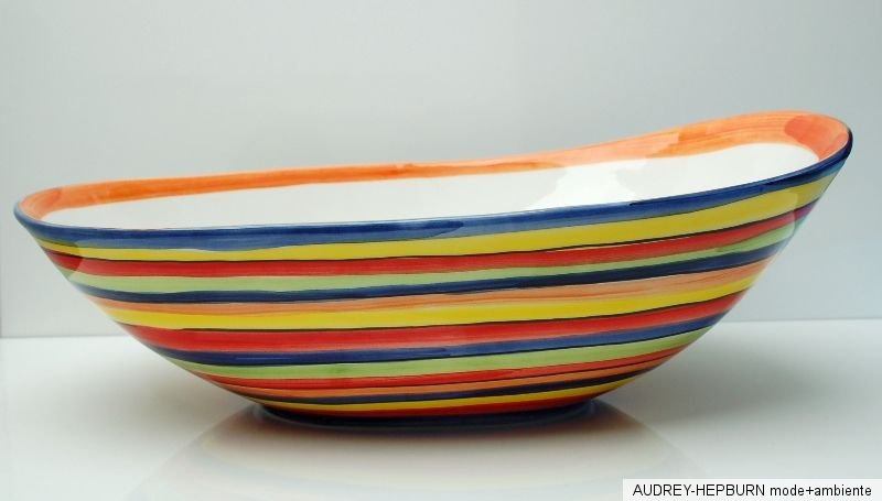 mediterranes geschirr riesige ovale schale 40 5 cm bunt bassano keramik ebay. Black Bedroom Furniture Sets. Home Design Ideas