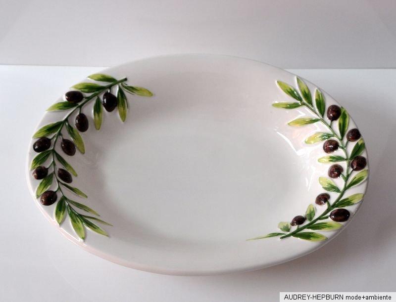 bassano keramik sch ssel oval 36 5 cm oliven relief. Black Bedroom Furniture Sets. Home Design Ideas