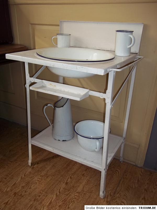 antiker waschtisch waschst nder eisen um 1900 5 emaile teile ebay. Black Bedroom Furniture Sets. Home Design Ideas