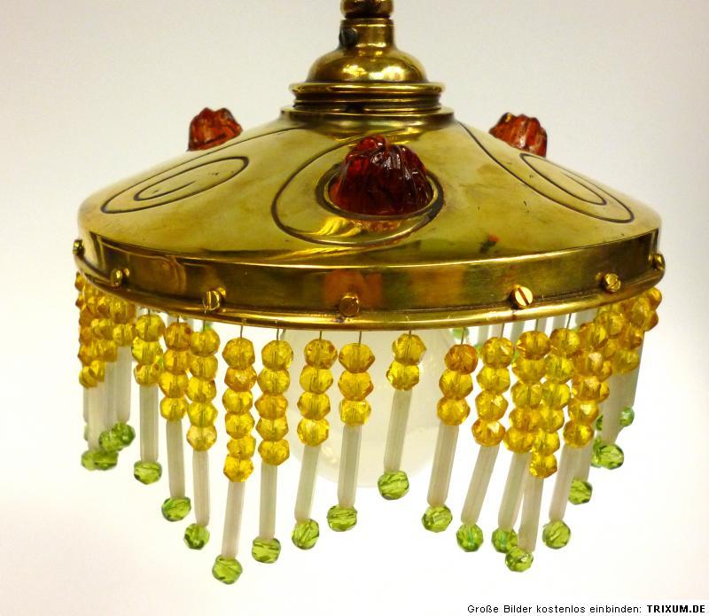 jugendstil lampe wohl darmstadt um 1900 bronze glasperlen. Black Bedroom Furniture Sets. Home Design Ideas