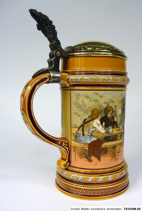 seltener krug mettlach villeroy boch christian warth ebay. Black Bedroom Furniture Sets. Home Design Ideas